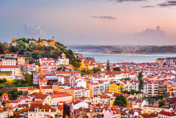 Lisbon, Portugal City Skyline - Stock Photo - Images