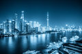 shanghai night scene with blue tone, view from north bund, - PhotoDune Item for Sale