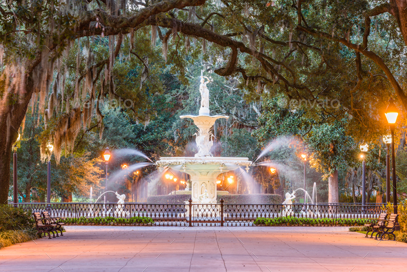 Forsyth Park, Savannah, Georgia - Stock Photo - Images