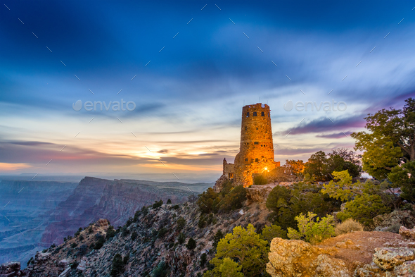 Desert View Watchtower on the Grand Canyon - Stock Photo - Images