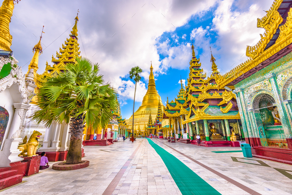 Shwedagon Pagoda in Myanmar - Stock Photo - Images