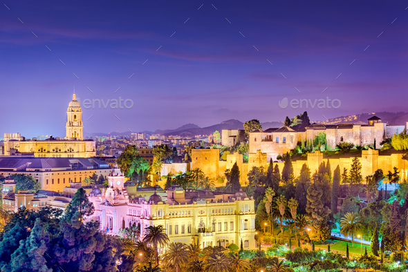 Malaga, Spain Skyline - Stock Photo - Images