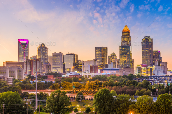 Charlotte, North Carolina, USA Skyline - Stock Photo - Images
