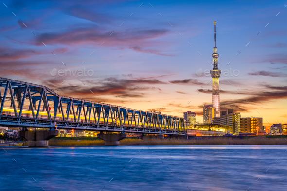 Tokyo, Japan River Skyline - Stock Photo - Images