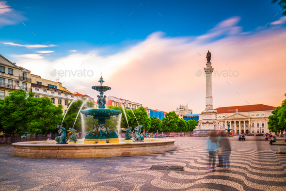 Rossio Square, Lisbon, Portugal - Stock Photo - Images