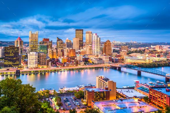 Pittsburgh, Pennsylvania, USA Skyline - Stock Photo - Images
