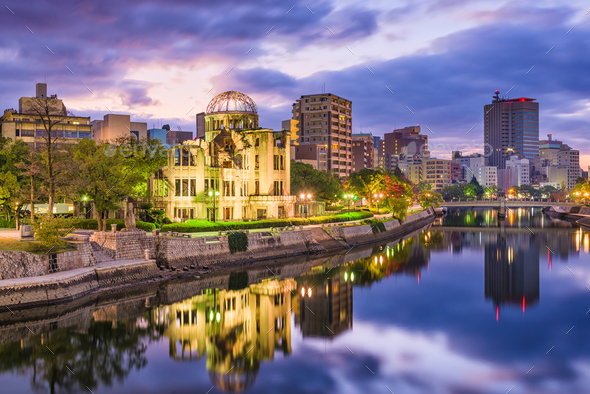 Hiroshima, Japan City Skyline - Stock Photo - Images