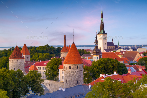 Tallinn, Estonia Historic Skyline - Stock Photo - Images