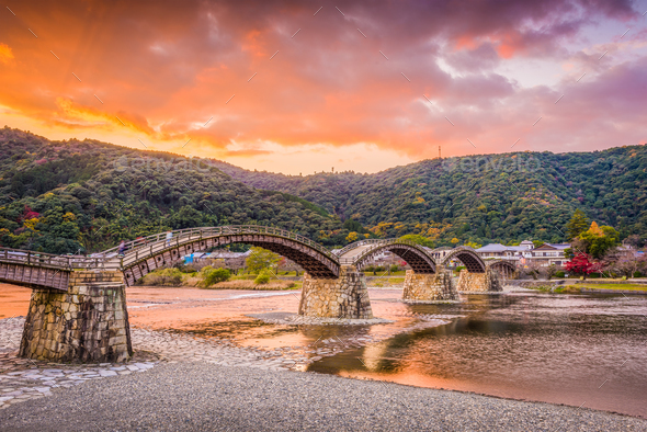 Iwakuni, Japan at Kintaikyo Bridge - Stock Photo - Images