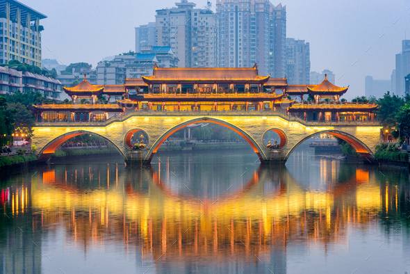 Chengdu, China River and Bridge - Stock Photo - Images