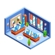 Office Isometric Vector Illustration Cross-section