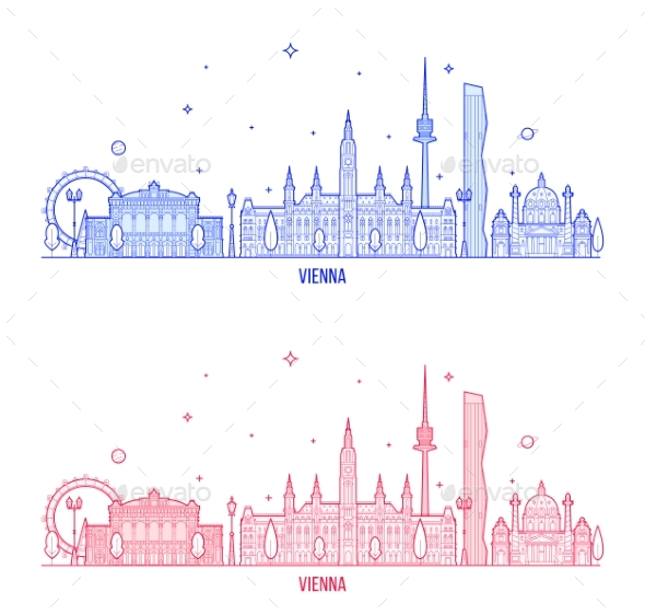 Vienna Skyline Austria City Buildings Vector - Buildings Objects