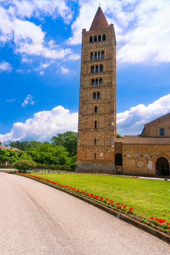 Pomposa Abbey, medieval church and campanile tower. Codigoro Fer - Stock Photo - Images