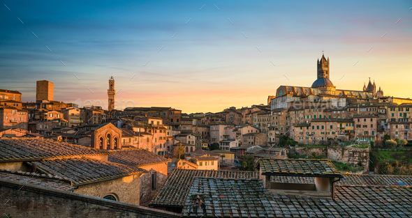 Siena sunset panoramic skyline. Mangia tower and cathedral duomo - Stock Photo - Images