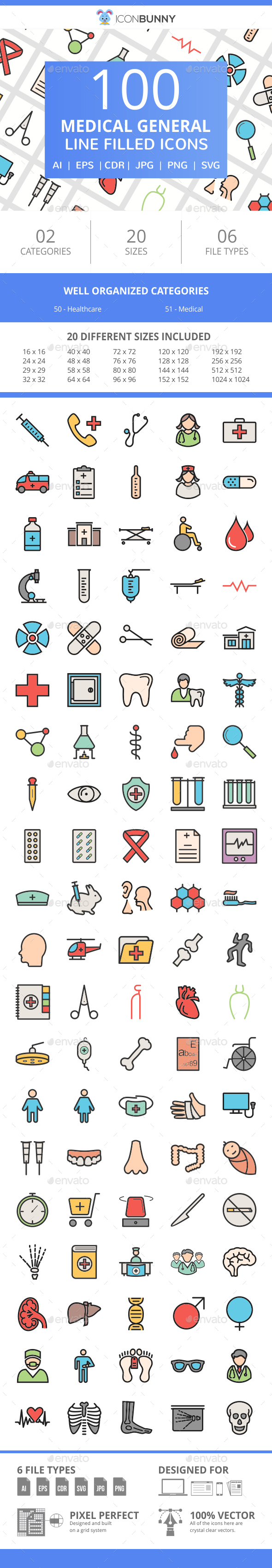 101 Medical General Filled Line Icons - Icons