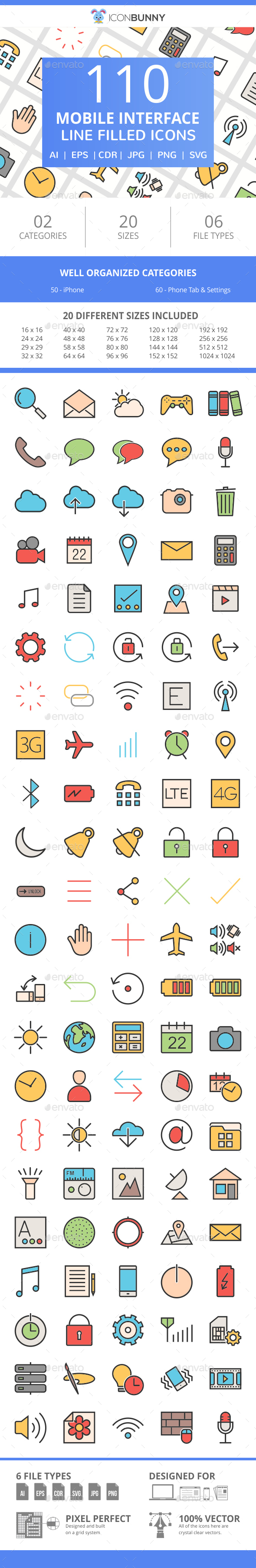 111 Mobile Interface Filled Line Icons - Icons
