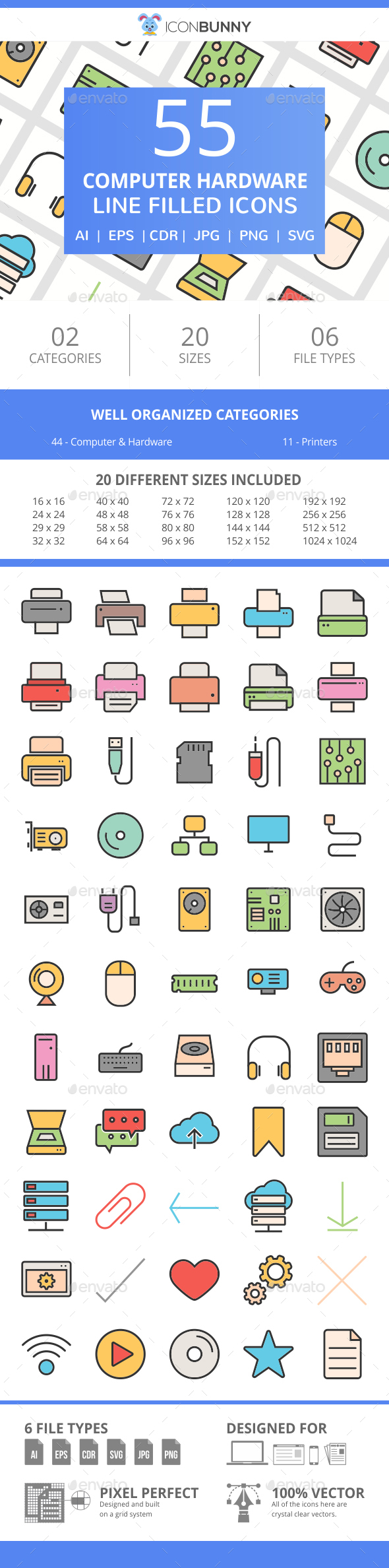 55 Computer & hardware FIlled Line Icons - Icons