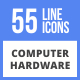 55 Computer & hardware FIlled Line Icons
