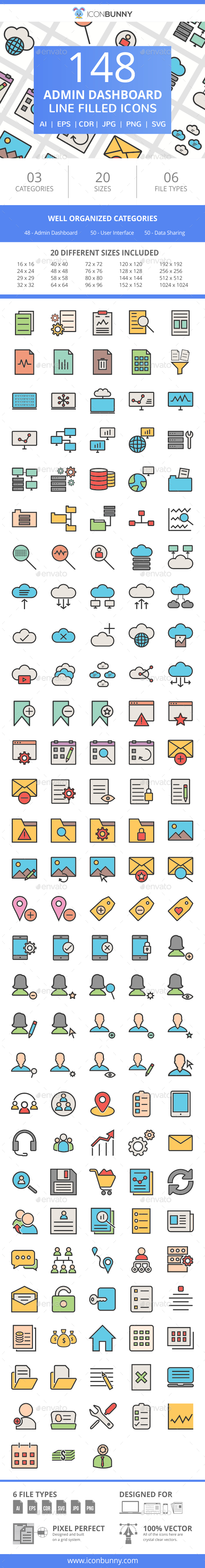 148 Admin Dashboard Filled Line Icons - Icons
