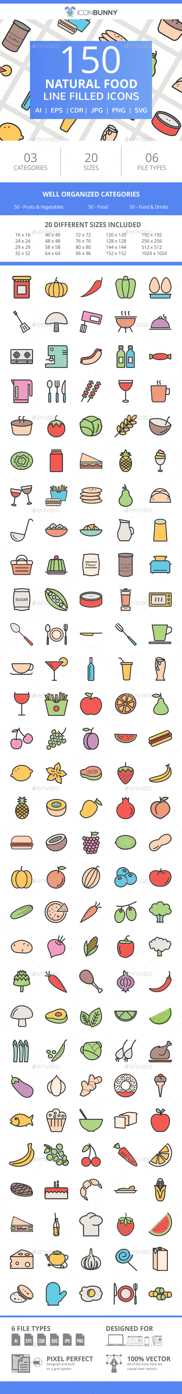 150 Natural Food Filled Line Icons - Icons
