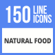 150 Natural Food Filled Line Icons - GraphicRiver Item for Sale