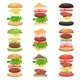 Set of Burgers and Sandwiches with Flying