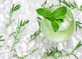 Cold mojito, refreshing lemonade with mint leaves and ice cubes - PhotoDune Item for Sale