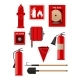 Flat Vectoe Set of Firefighting Items. Fireman