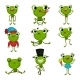 Set of Green Frogs in Different Poses
