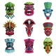 Flat Vector Set of Colorful Zulu Masks