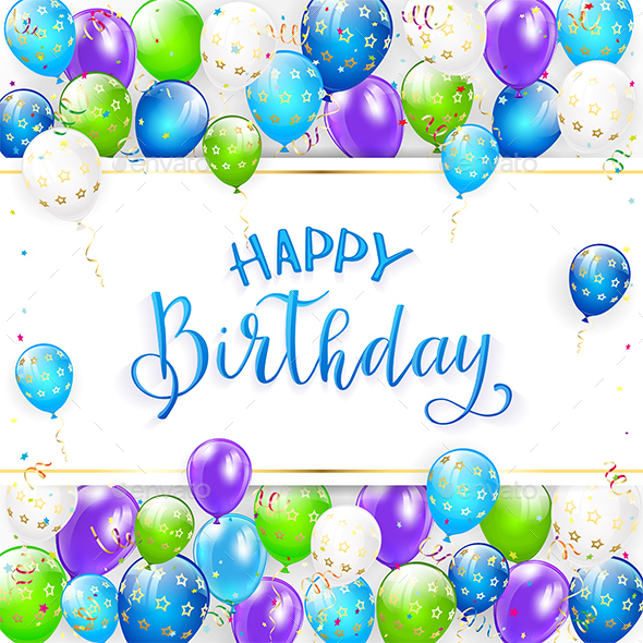 Blue Lettering Happy Birthday with Balloons and Streamers - Birthdays Seasons/Holidays