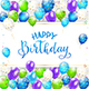 Blue Lettering Happy Birthday with Balloons and Streamers - GraphicRiver Item for Sale