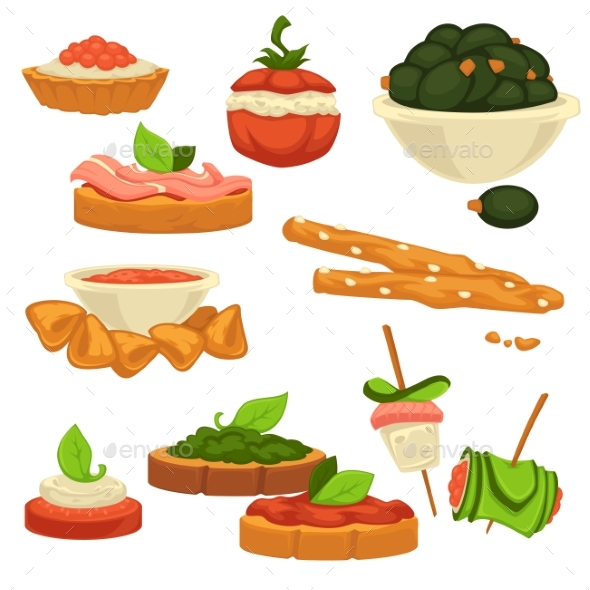 Tasty Nutritious Snack with Vegetables and Sauces - Food Objects