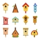 Wooden Birdhouses of Creative Design To Hang on - GraphicRiver Item for Sale