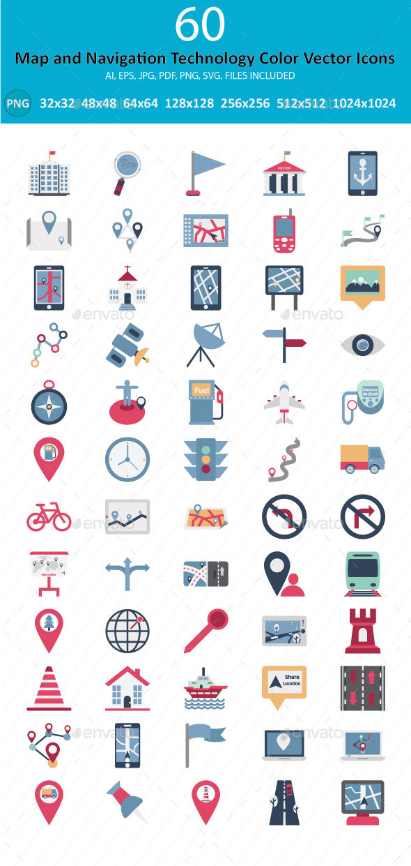 60 Maps and Navigation Color Vector Icons - Technology Icons
