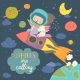 Girl Astronaut with Her Unicorn Riding a Rocket - GraphicRiver Item for Sale