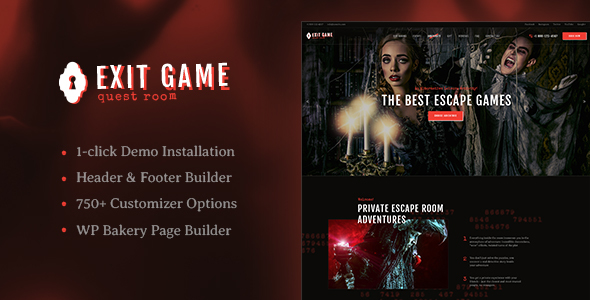 Exit Game | Real-Life Room Escape WordPress Theme - Entertainment WordPress