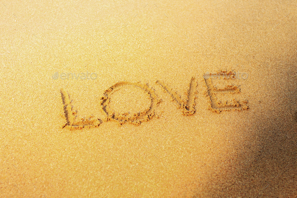 love on sand beach - Stock Photo - Images