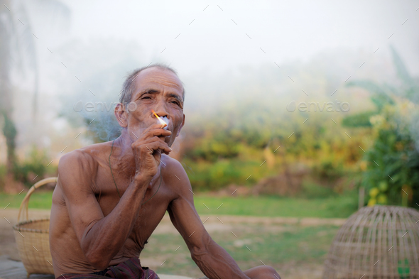 Older people are smoking - Stock Photo - Images