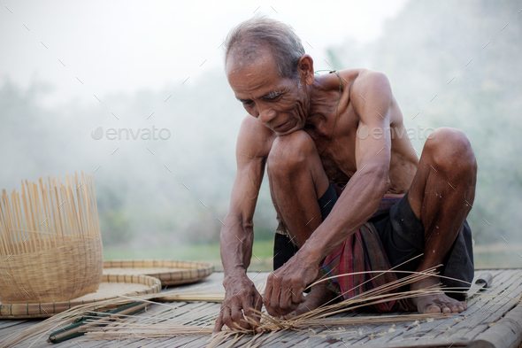 Old people with basketry - Stock Photo - Images