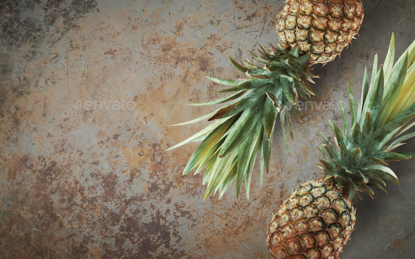 Pineapple on concrete - Stock Photo - Images