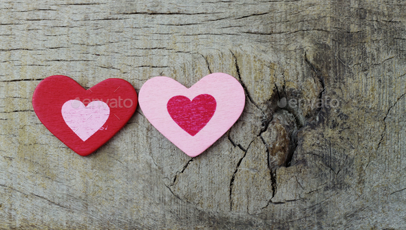 Two hearts on wooden - Stock Photo - Images