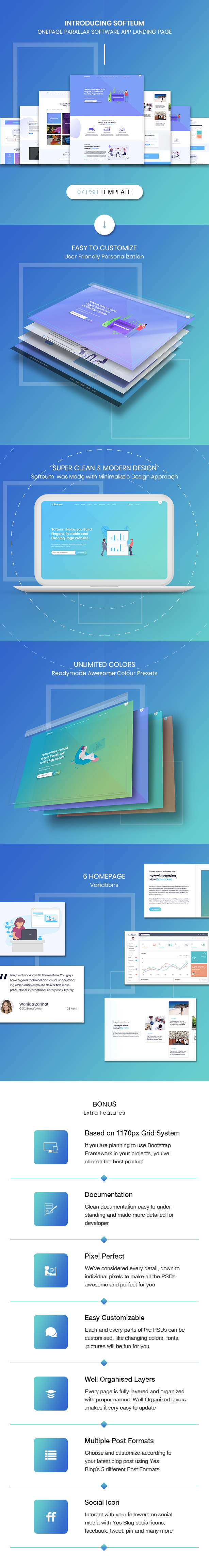 Softeum - Software, App & Product Showcase Landing PSD Design