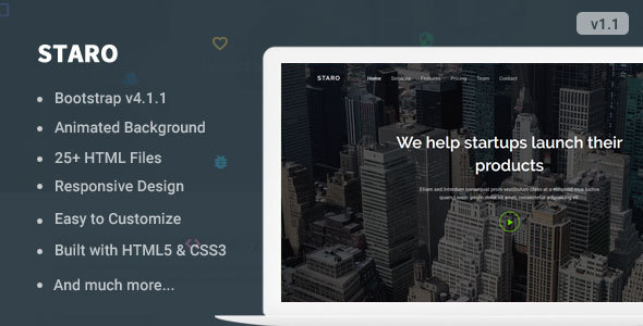 Image of Staro - Responsive Bootstrap 4 Landing Page Template