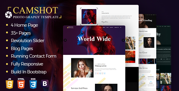 Image of CamShot : Photography Portfolio HTML Template
