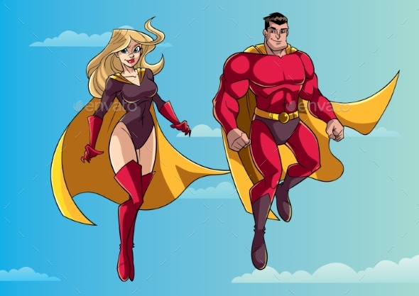 Superhero Couple Flying in Sky - People Characters