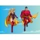Superhero Couple Flying in Sky
