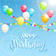 Text Happy Birthday and Decoration on Sky Background