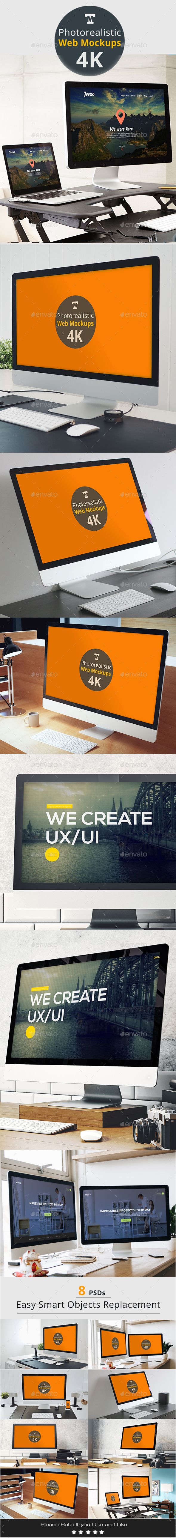 Photo-realistic Responsive Web Mockups 4K - Monitors Displays
