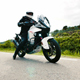 Motorcyclist Driving his Sports Motorbike on a Curvy Road Slow Motion - VideoHive Item for Sale